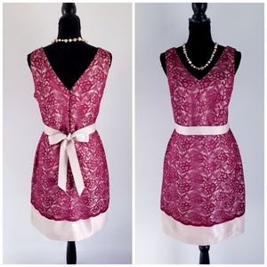 The Limited Red Wine Ribbon-Belted Lace Dress